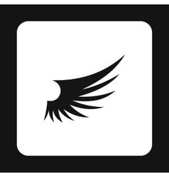 Long birds wing with feathers icon simple style vector