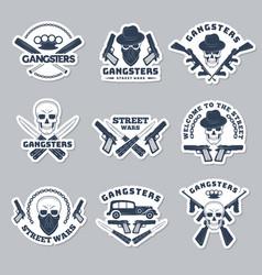 mafia labels gangsta stylized symbols guns vector image