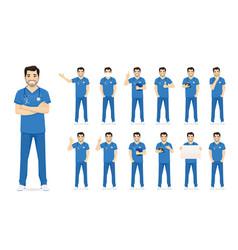 Male nurse character set vector