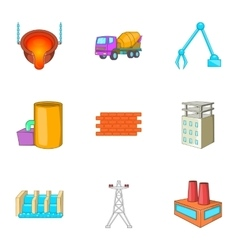 Metallurgical plant icons set cartoon style vector