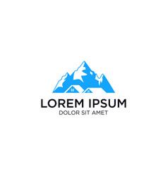 mountain home house estate logo icon vector image