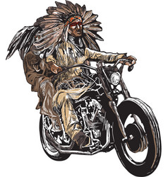 On the bike - native americans drive a motorcycle vector