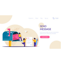 people write and send letters through mailbox vector image