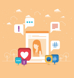 Picture of woman in acount with trend set icons vector