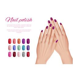 Polish nail colors woman hands nails models vector