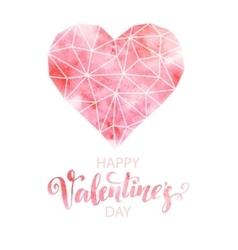 Polygon heart with watercolor texture vector