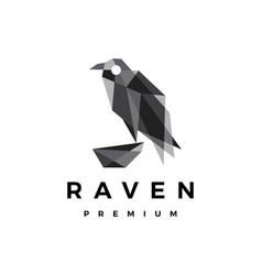 Raven crow bird geometric polygonal logo icon vector
