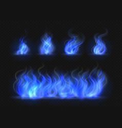 realistic blue fire flames set transparent torch vector image
