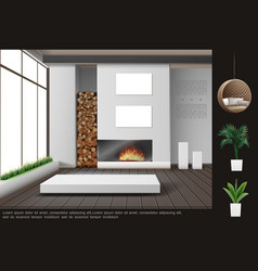 realistic living room interior concept vector image