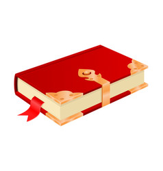 red book with golden corners and safe lock vector image