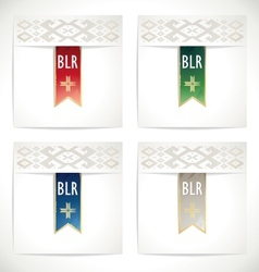 Ribbons set in the traditional colors of Belarus vector image