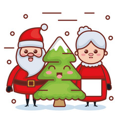 santa claus with grandmother and pine characters vector image