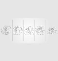 Set bundled astronaut line art template design vector
