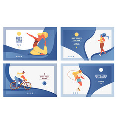 set of blue sport banners with girl doing vector image