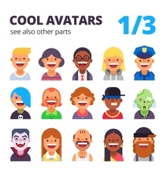 Set of cool flat avatars vector image