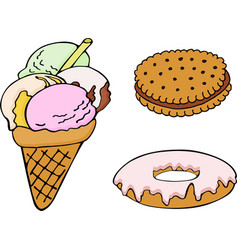 Set of hand drawn donut ice cream biscuit vector