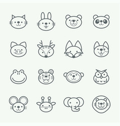 set outline animal icons vector image