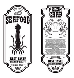 Set seafood flyers with squid and crab design vector