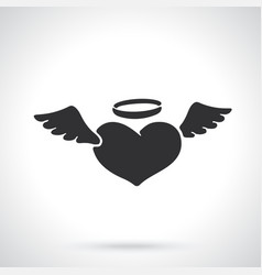 Silhouette angel heart with wings vector