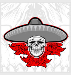Skull wearing sombrero hat mexico with rose vector