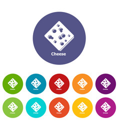 sliced cheese icons set color vector image