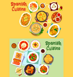 Spanish cuisine national dishes icon set design vector