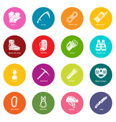Speleology equipment icons set colorful circles vector