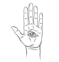 Spiritual hand with allseeing eye on palm vector