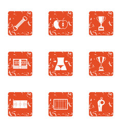 Sport under roof icons set grunge style vector