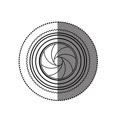 Sticker monochrome contour of analog camera lens vector