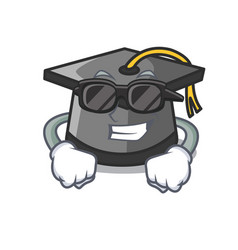 Super cool graduation hat character cartoon vector