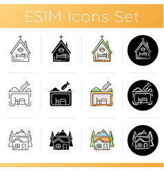 Temporary supportive housing icons set vector