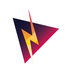 Thunderbolt label on white background vector