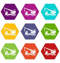 Truck crane icon set color hexahedron vector