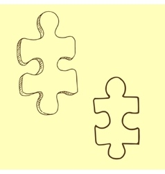 Two pieces of puzzle vector
