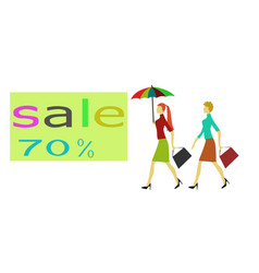 two women and discount tag have white background vector image