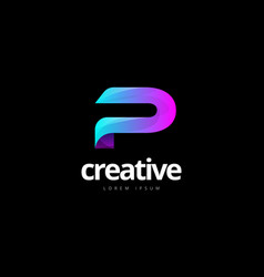 vibrant trendy colorful creative letter p logo vector image