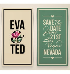 Vintage wedding card with pink tulip vector