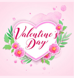 watercolor pink flowers and heart vector image