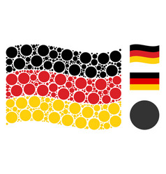 waving germany flag pattern of filled circle items vector image