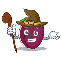 witch plum mascot cartoon style vector image