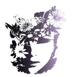 woman with decorative flowers vector image