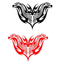 Biker tattoos with fire tribal flames vector image vector image