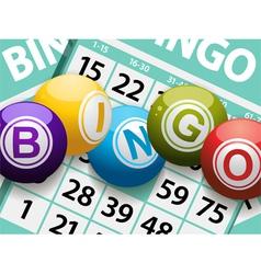 bingo balls on a card background vector image vector image