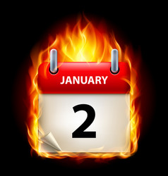 Second january in calendar burning icon on black vector
