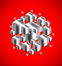 Abstract figure from 3d metal cubes on red vector image