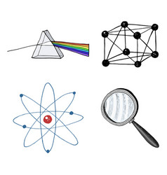 atom and prism magnifier and crystal lattice vector image vector image