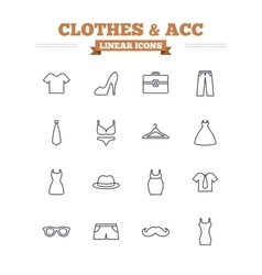 Clothes and accessories linear icons set Thin vector image