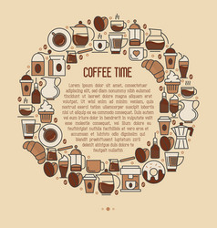 coffee time concept in circle with thin line icons vector image