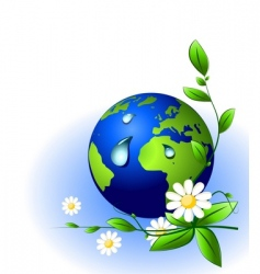 Earth globe and water drops vector image